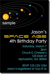 Outer Space Solar System Birthday Party Invitation