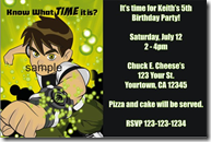 ben 10 birthday party invitations