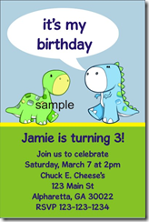 Dinosaur Birthday Party Invitation Custom Personalized Printable