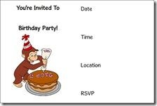 curious george free printable invitation