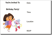 dora free printable invitation