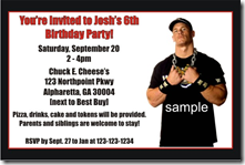 Wwe Wrestling Birthday Party Invitations