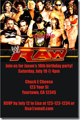 wwe birthday party invitation