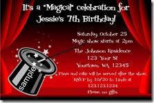 Magic Magicians Hat Magic Show Birthday Party Invitations
