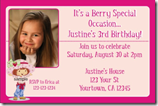 strawberry shortcake birthday party invitation