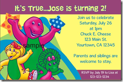 barney birthday party invitation