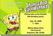 spongebob squarepants birthday party invitations