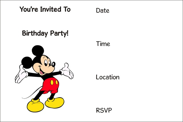 Magic image inside free printable mickey mouse invitations