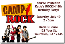 camp rock invitations 2