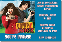camp rock invitations