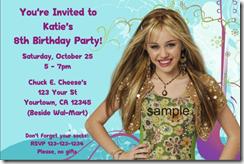 hannah montana invitations