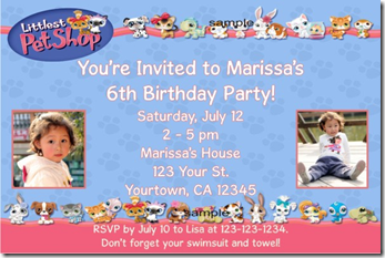 littlest pet shop invitation