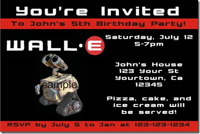 wall-e birthday party invitations