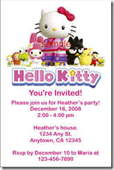 hello kitty invitation