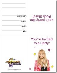free printable hannah montana invitation