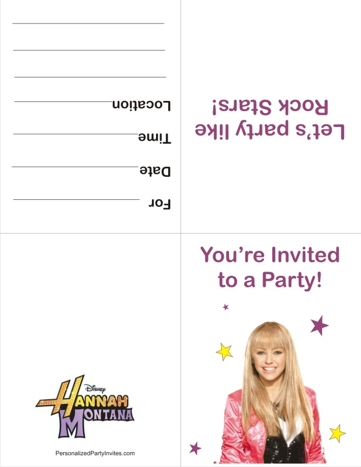 Hannah Montana FREE Printable Invitation | Birthday Party Invitations FAST!