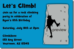PersonalizedPartyInvites Added A Rock Climbing Party Invitation Template