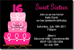 sweet 16 invitation