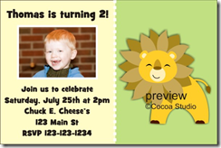 lion photo birthday party invitation