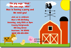 barnyard farm animals birthday party invitation