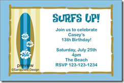 surf board party invitation