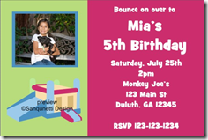bounce castle house photo invitations