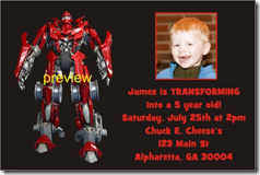 transformers photo birthday party invitation