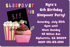 sleep over slumber party invitation