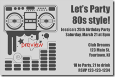 Small printable 80s themed invitations Trials Ireland