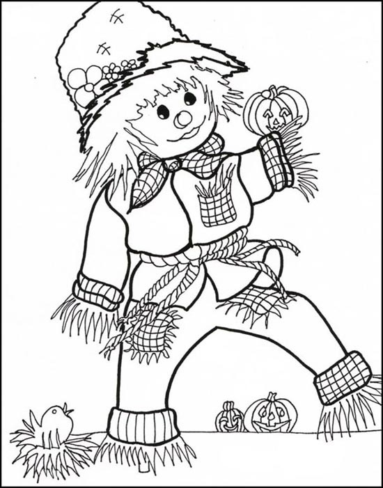Free halloween coloring pages archives for Printable scarecrow coloring pages