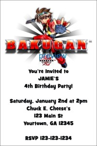 bakugan birthday party invitation
