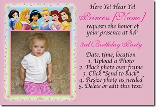 disney princess photo invitation
