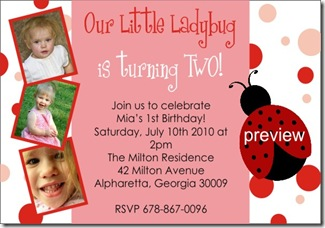 LadyBug Birthday Party Invitation with Photos Custom