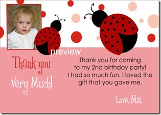 Ladybug Birthday Invitation Thank You Card