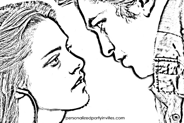 twilight coloring page kristin stewart robert pattinson bella