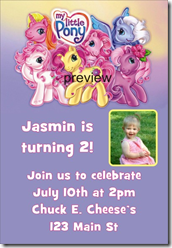 My Little Pony Invitations for Birthday Party, Personalized Custom