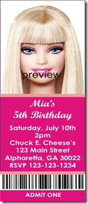 barbie ticket invitation
