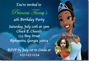 princess and frog birthday invitation