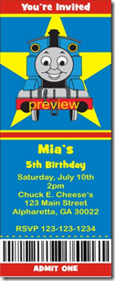 thomas the tank engine ticket invitation
