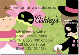masquerade costume party invitation