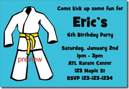 Karate, TaeKwanDo, Martial Arts Birthday Party Invitation ...