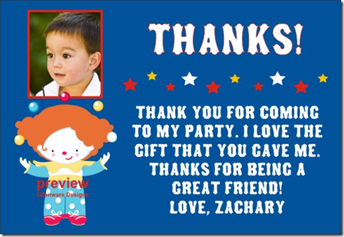 Thank You Cards For Birthday. circus thank you card