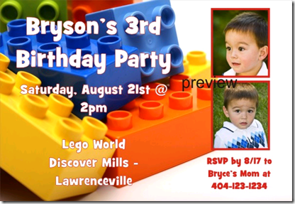 lego photo birthday invitation