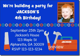 handy man tools birthday party invitation