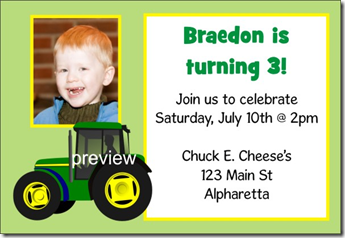 tractor john deer birthday party invitation