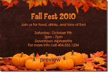 fall pumpkins invitation