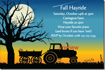 fall hayride invitation