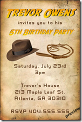 indiana jones birthday party invitation