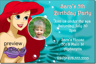 The Little Mermaid–Ariel Photo Birthday Party Invitation