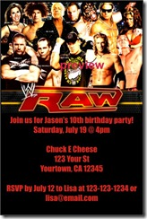 com has updated the WWE Raw birthday party invitation